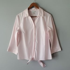 Christopher & Banks Pink Striped Tie Front Blouse